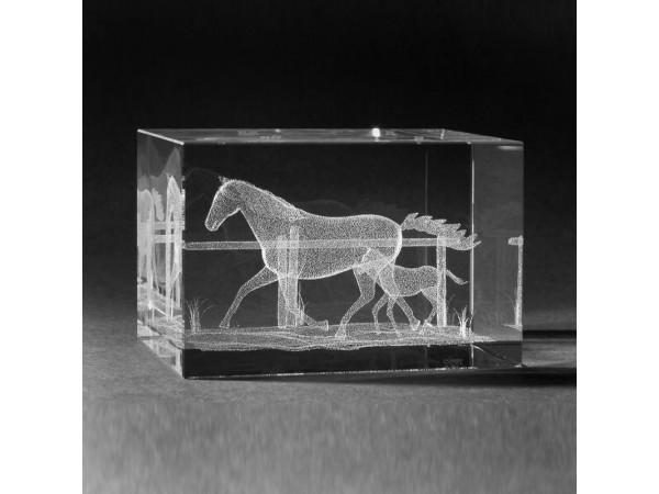 Glasblok Paard met Veulen